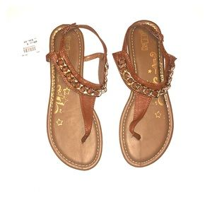 Brash Brown and Gold Sandals